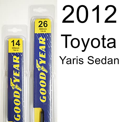 2012 toyota yaris sedan wiper blade size