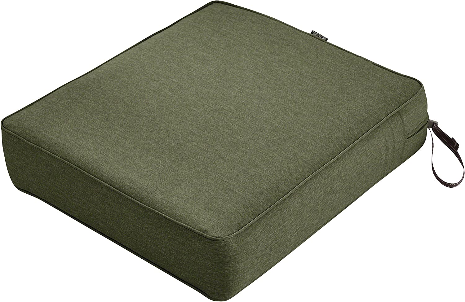 Classic Accessories Montlake Water-Resistant 23 x 25 x 5 Inch Rectangle Outdoor Seat Cushion, Patio Furniture Chair Cushion, Heather Fern Green