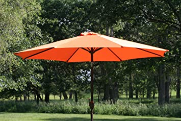 Exceptional 9u0027 Outdoor Patio Umbrella With Tilt And Crank   Orange
