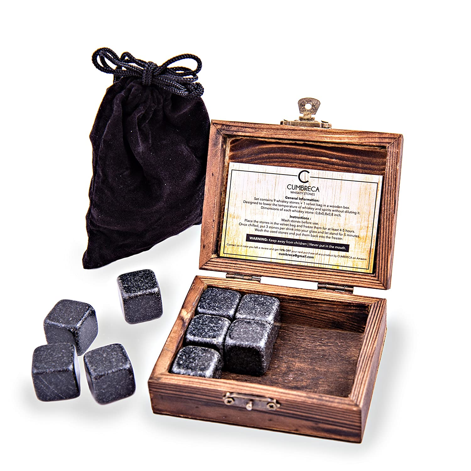 Cumbreca Whiskey Stones Granite Drinking Rocks for Chilling your Whiskey, Wine and other Beverages, Set of 9 with the Wooden Box + Velvet Pouch