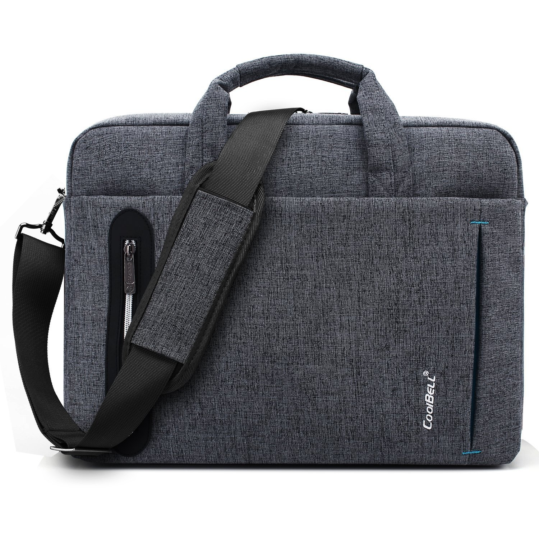CoolBell 17, 3 Zoll Laptop Tasche Nylon Aktentasche mehrfachfach Umhängetasche Business Messenger Bag für Computer/Männer / Damen, Grau