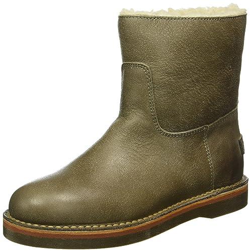 Shabbies Amsterdam Damen Shabbies Ladies Short Boot 16cm with Real Wool Lining Alissa Matching Sole Schlupfstiefel