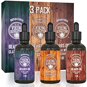9d7addb9 Beard Oil Conditioner 3 Pack - All Natural Variety Gift Set - Sandalwood,  Pine & Cedar, Clary Sage...