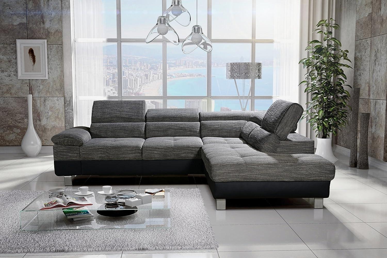 Rabatti Casper Sofa Couch Schlafsofa mit Schlaffunktion , verstellbare kopfstützen, Polsterecke Ottomane Rechts, Schenkelmass: 290 x 230 cm, Stoff / Farbe Freie auswahl