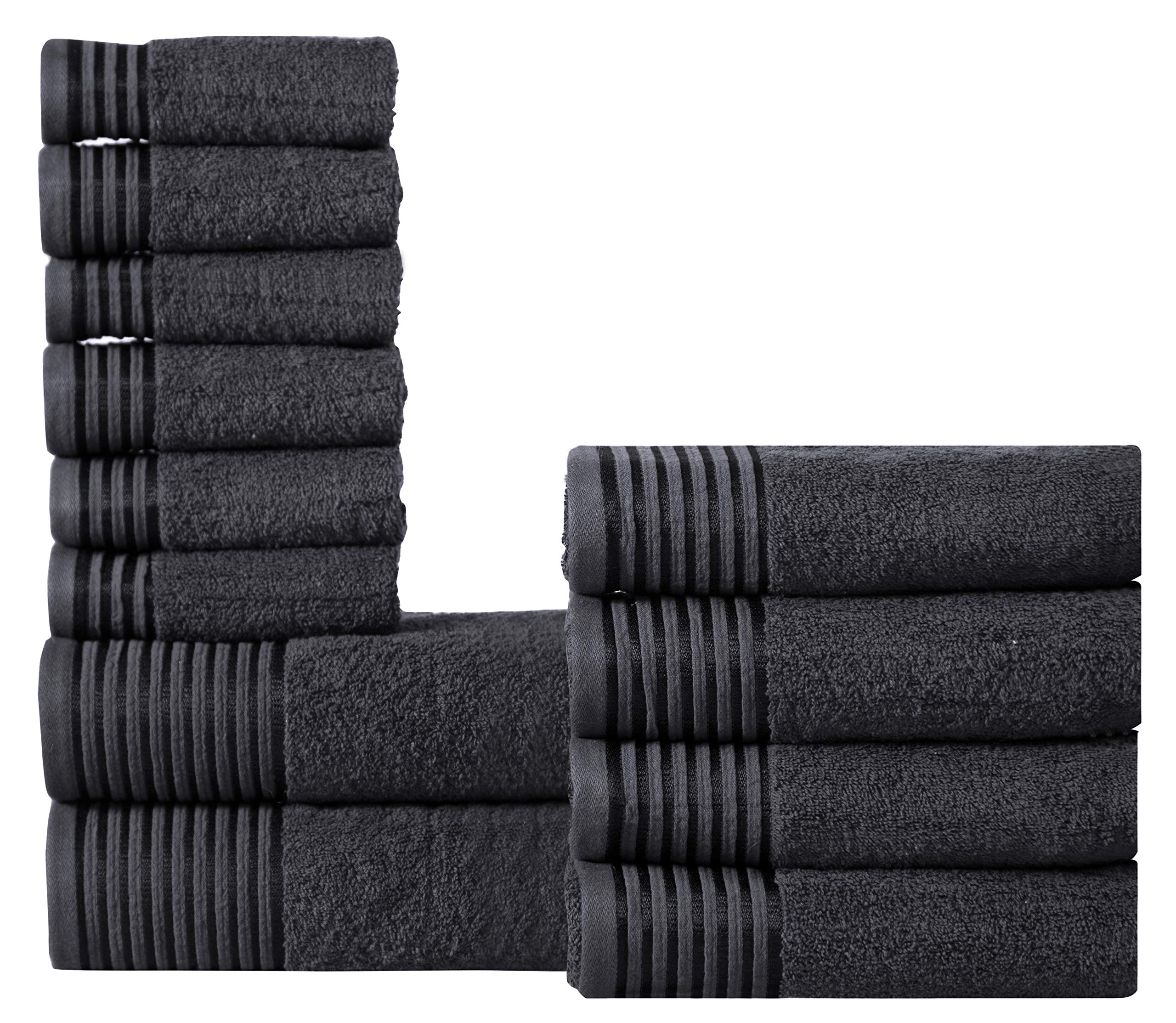 600 GSM Ultra Soft 100% Combed Cotton 12-piece Towel Set (Charcoal Black): 2 Bath towels, 4 Hand towels, 6 Washcloths, Long-staple Cotton, Spa Hotel Quality, Super Absorbent, Machine Washable