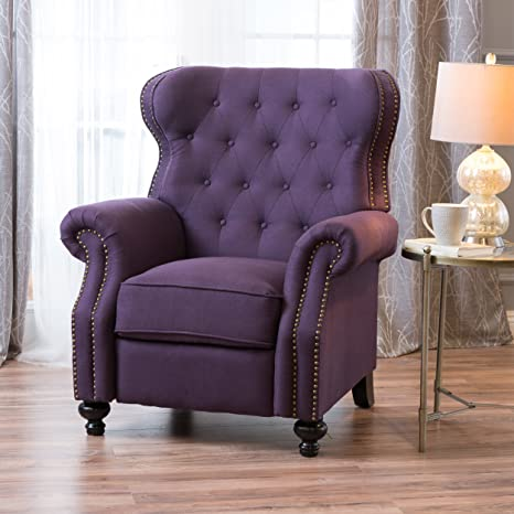 Pleasing Great Deal Furniture Waldo Tufted Wingback Recliner Chair Plum Ncnpc Chair Design For Home Ncnpcorg