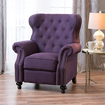 Amazon Waldo Tufted Wingback Recliner Chairplum Kitchen Dining
