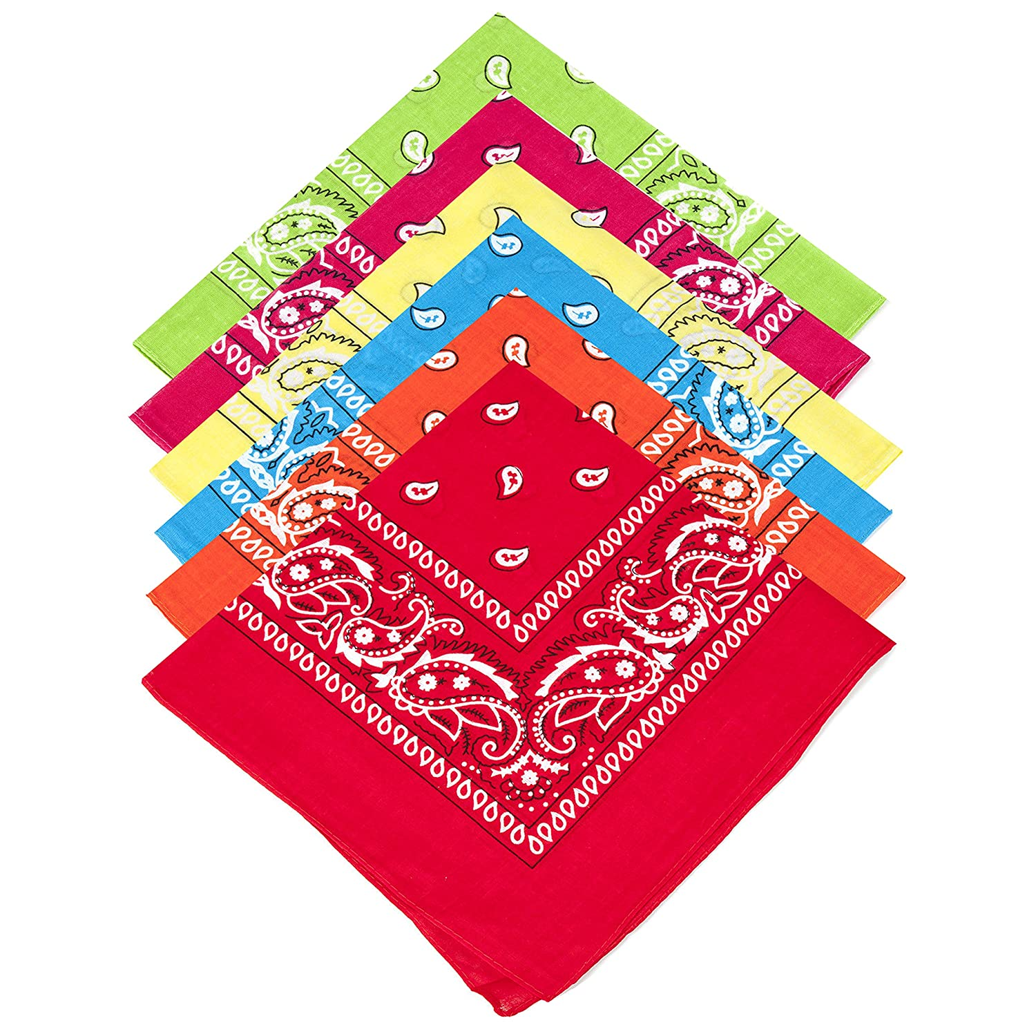 6 Bright Summer Colours 100% Cotton Unisex Paisley Bandanas