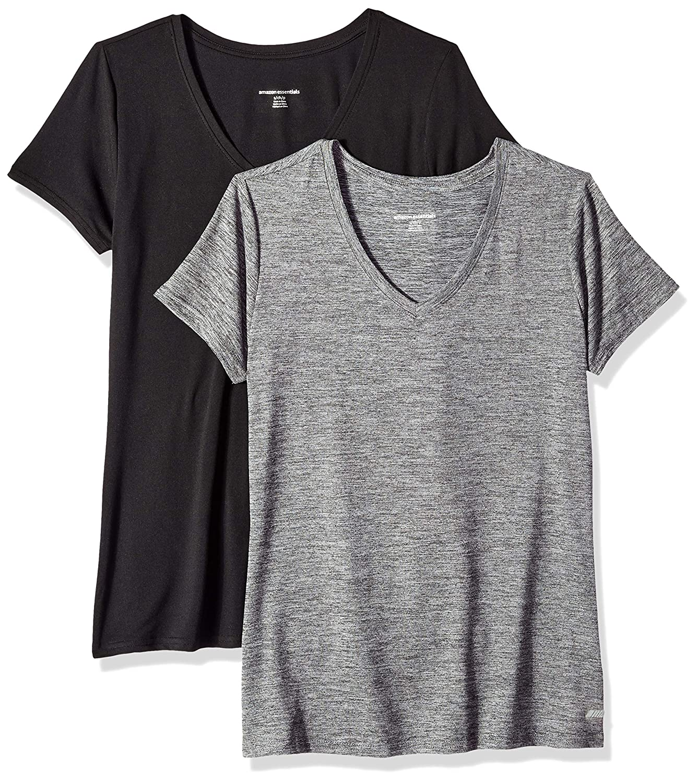 Essentials Womens 2-Pack Tech Stretch Short-Sleeve V-Neck T-Shirt