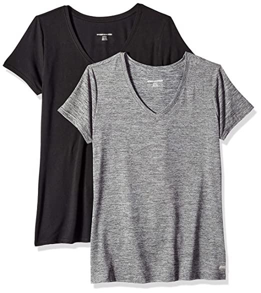 sports shoes 24084 8a1ef Amazon Essentials Women s 2-Pack Tech Stretch Short-Sleeve V-Neck T-