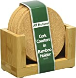 Cork Drink Coaster Set with Bamboo Holder included - Set of 6