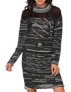 a464bfd1f99 Zeagoo Women s Vintage Cowl Neck Long Sleeve Slim Fit Ruffle Casual Mini Sweater  Dress