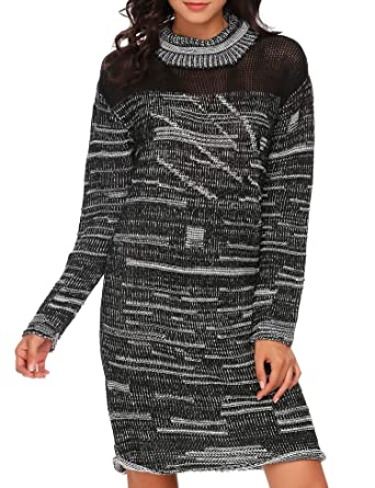 d3a3089bb96 Zeagoo Women s Winter Warm Casual Long Sleeve Knitted Loose Fit Knit  Pullover Sweater Dress