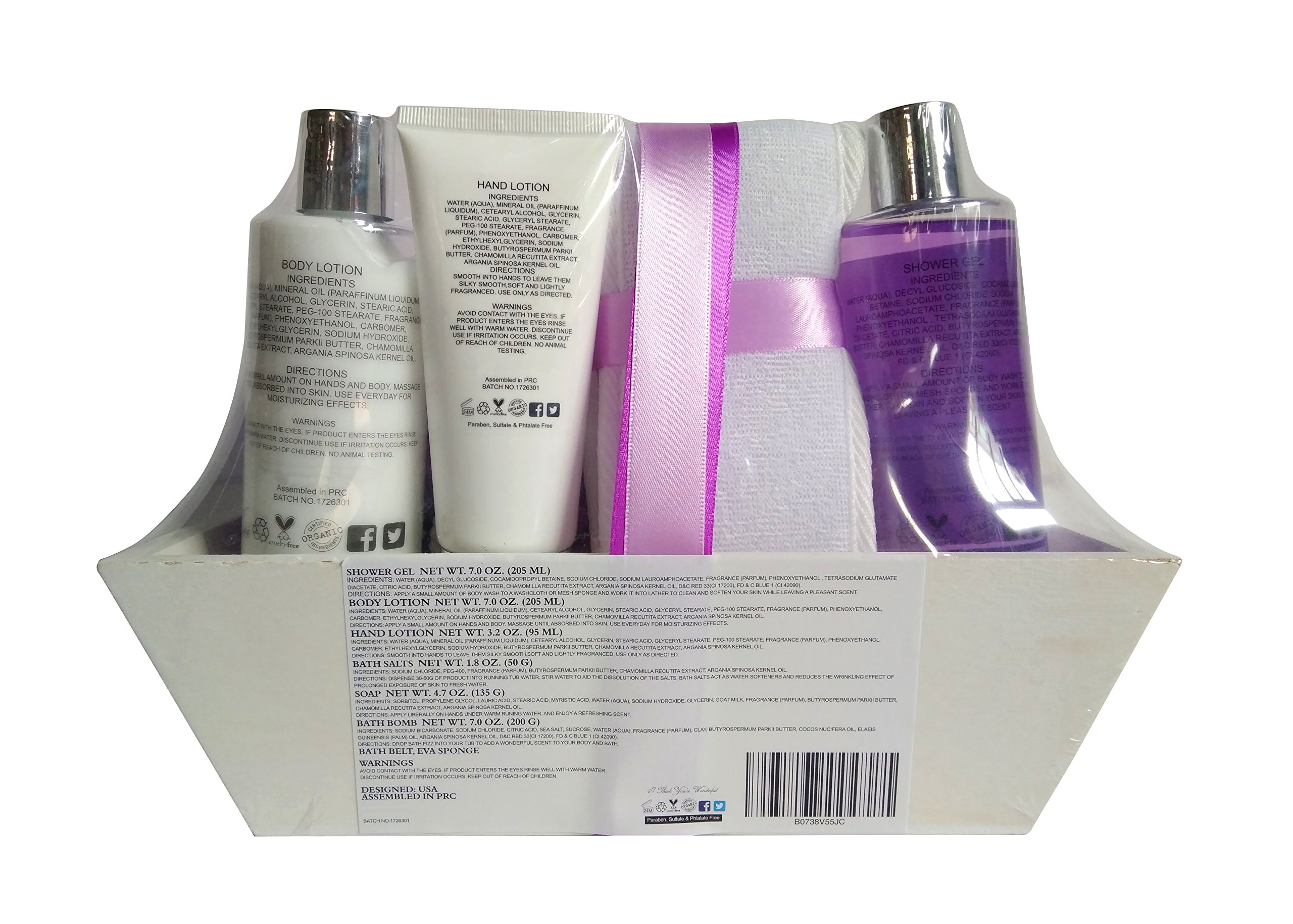 Deluxe Spa Basket, ''I Think You're Wonderful'' Gift Basket for Women. Bath & Body 10-Piece Gift Set. by Nurture Me Organics (Image #5)