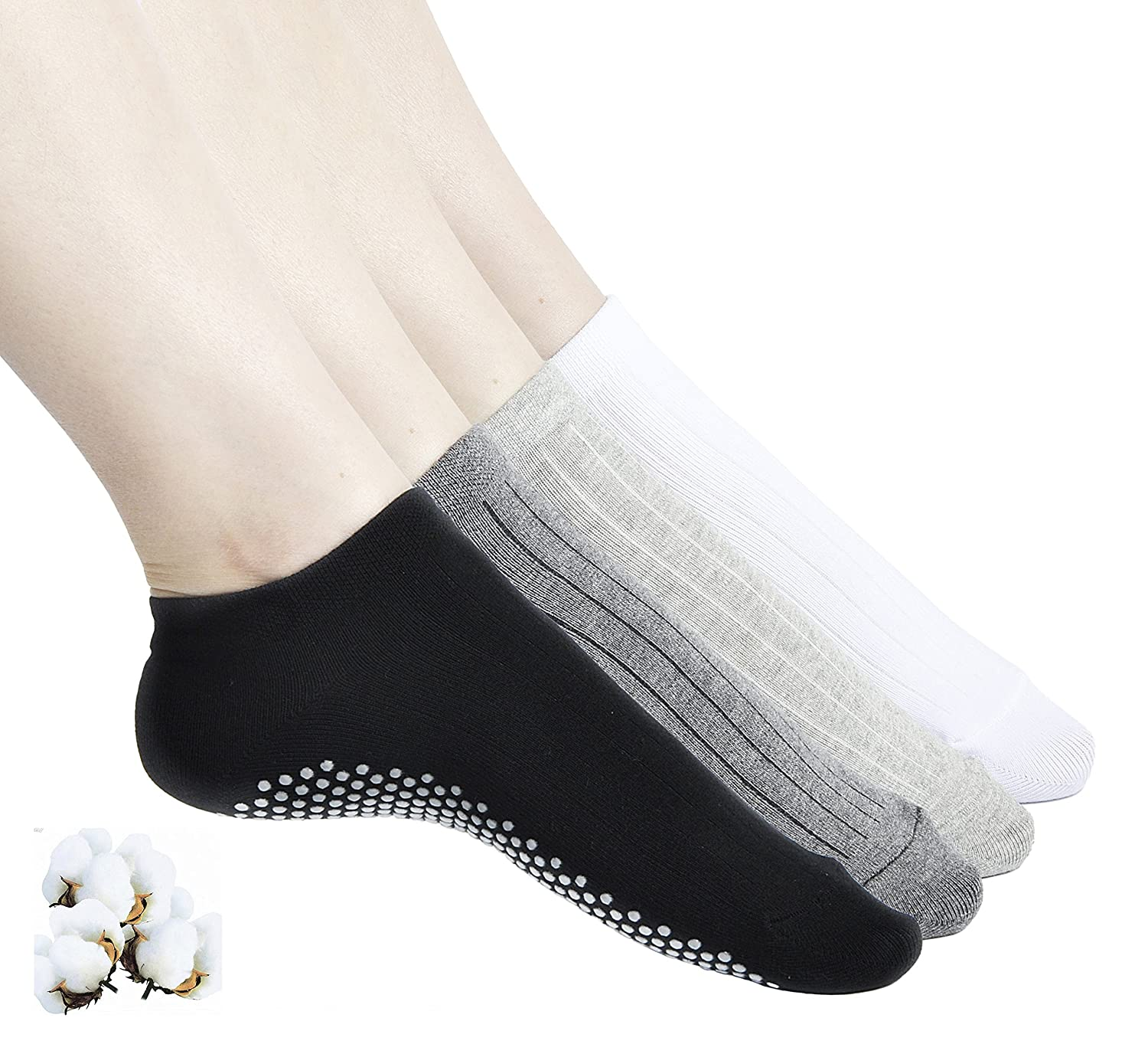 666e415cd1 ... 4.8% Spandex 02 black+white+grey+darkgrey and 03 black are made of 71.5  Cotton, 24.7% Nylon, 3.8% Spandex 2.SUITABLE SIZE :The yoga socks are about  22 ...