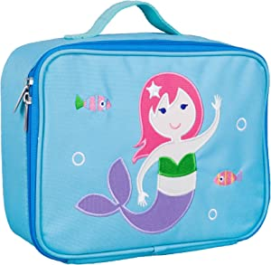 Wildkin Kids Insulated Embroidered Lunch Box for Boys and Girls, Perfect Size for Packing Hot or Cold Snacks for School and Travel, Measures 10 x7.5 x 4 Inches, BPA-Free, Olive Kids (Mermaid)