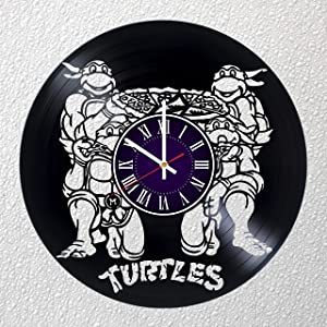 Identica Store Teenage Mutant Ninja Turtles Vinyl Record Wall Clock - Room Wall Decor - Art Gift Modern Home Record Vintage Decoration Gift for Him and Her - Gift for Fan Gifts for Boys Man Girls w