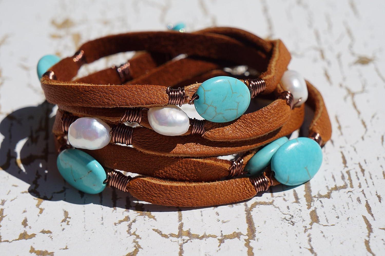 Wrap Bracelet 5 WrapTurquoise Brown Leather  Bracelet