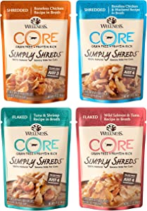 Wellness CORE Simply Shreds Natural Grain Free Wet Cat Food Topper Variety Pack, 4 Flavors, 1.75 Ounce (12 Total Pouches)