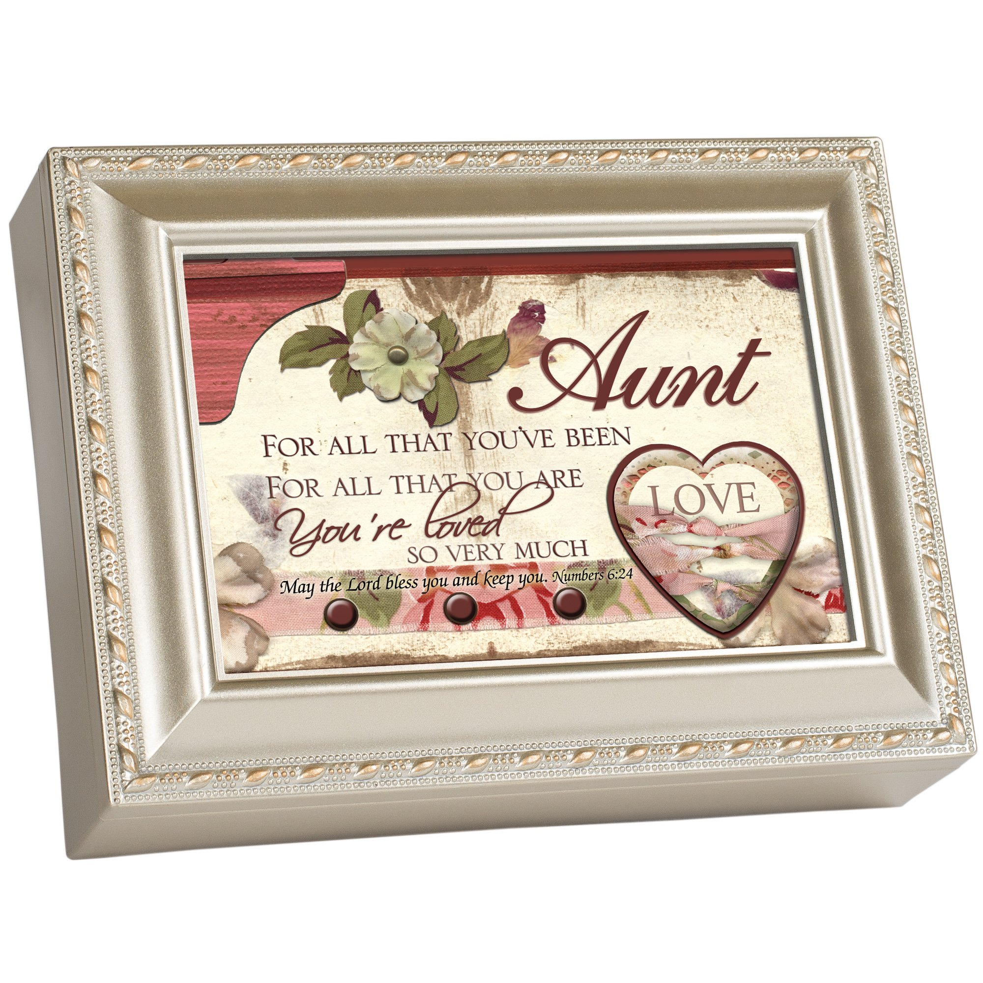 Cottage Garden Aunt All That You are Loved Very Silvertone Rope Trim Jewelry Music Box Plays Amazing Grace