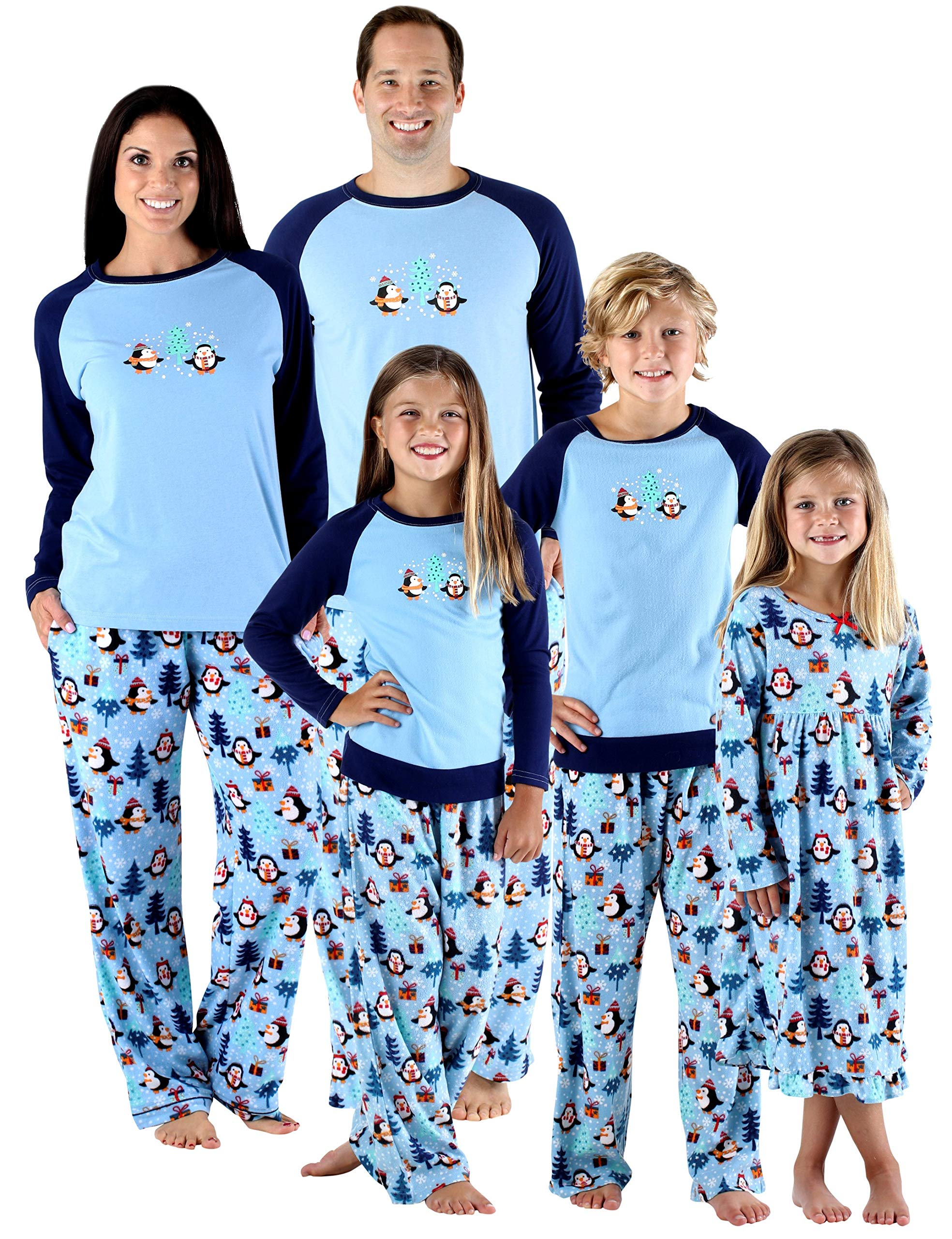 aefef93ea0 SleepytimePjs Holiday Family Matching Fleece Winter Penguin Pajama ...