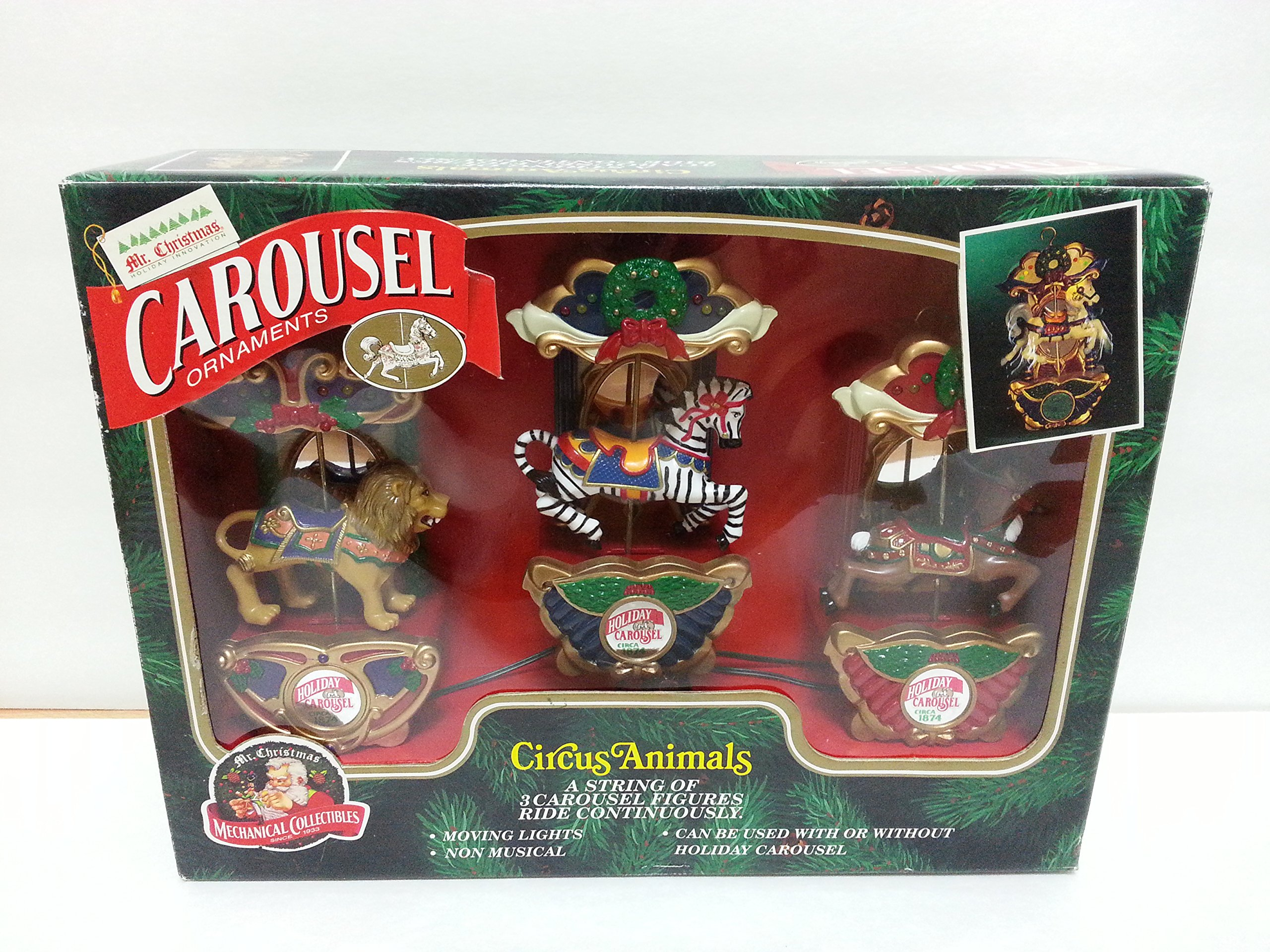 Mr. Christmas Carousel Ornaments Circus Animals - A String of 3 Carousel Figures Ride Continuously