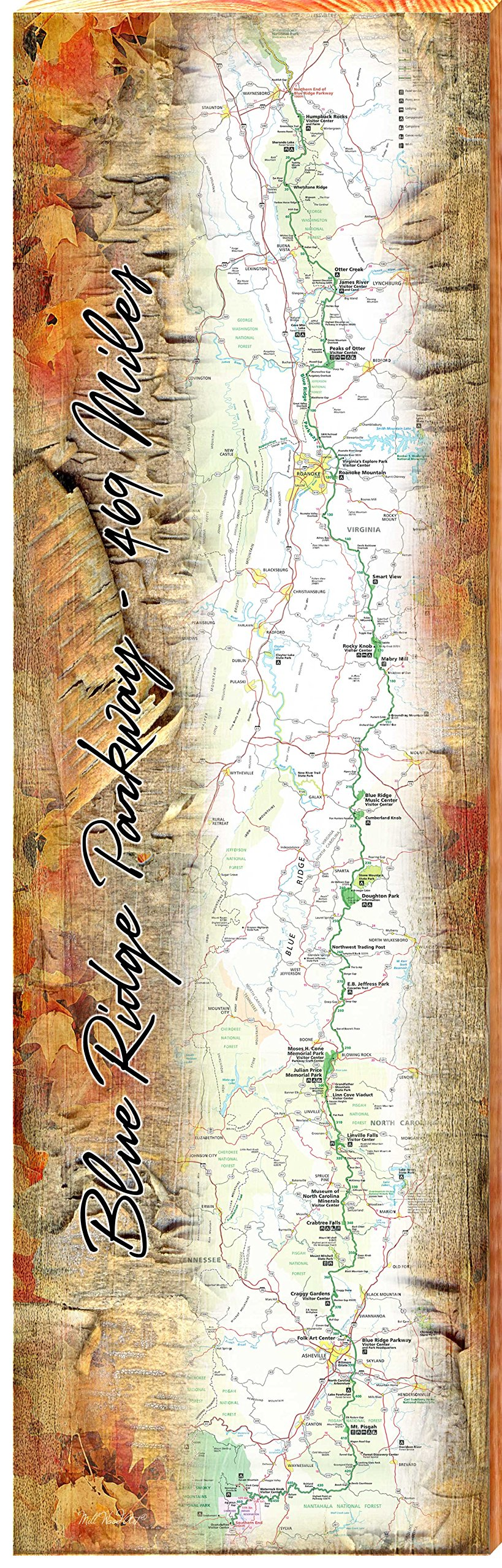 MILL WOOD ART Blue Ridge Parkway Map Home Decor Art Print on Real Wood (9.5''x30'')