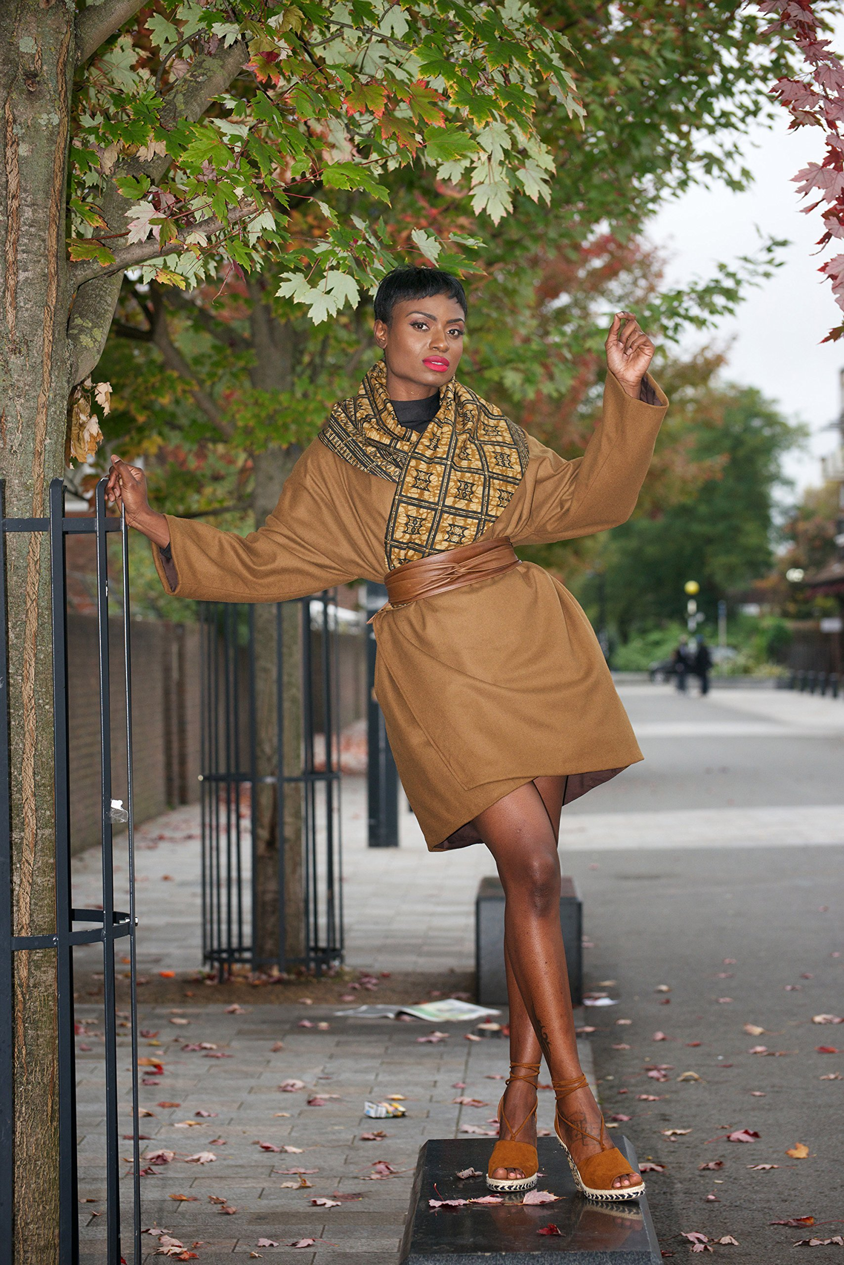 Winter coat and belt / winter jacket/ wool coat/ winter warmer/ ankara coat/ African print jacket/ trench coat - Camel