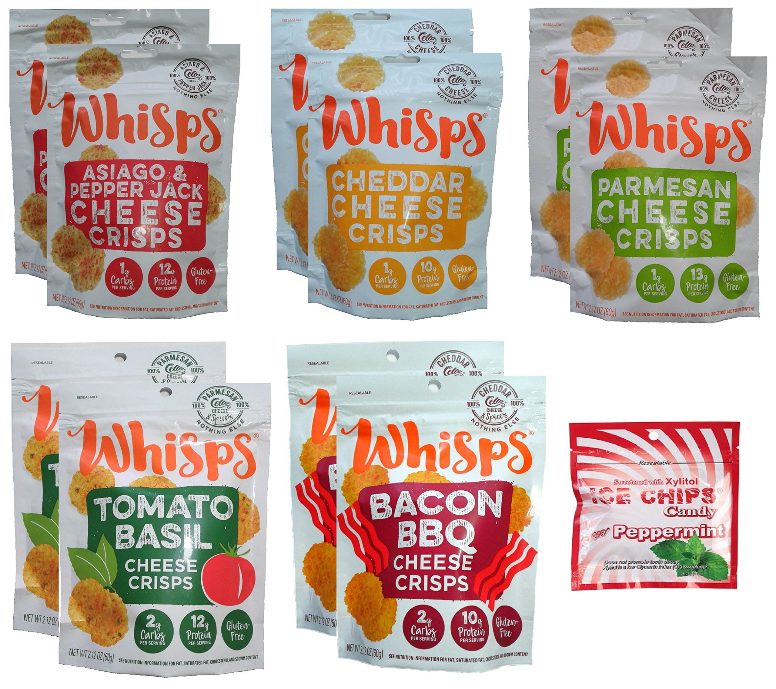 10-Pack Whisps Cheese Crisps 5 Flavors (2.12oz) + Ice Chips Peppermint Bundle; Low Carb, 100% Cheese, Gluten Free by Cello