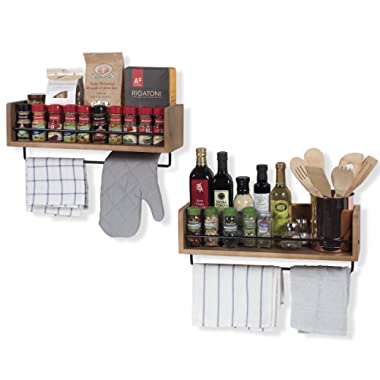 Rustic State Floating Kitchen Wall Mount Shelves Spice Storage Rack with Towel Rail by Set of 2 Walnut Stained