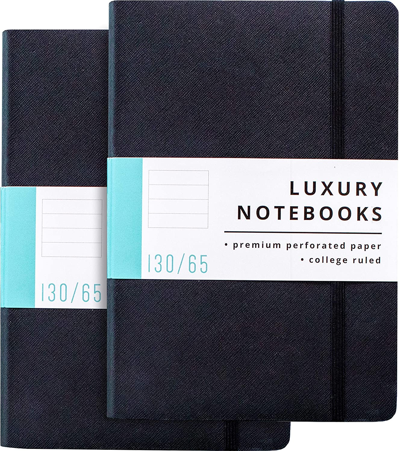 2 Pack Luxury Notebook Lined Journal - 130 Perforated Pages - Thick Paper (120 gsm) - Lay Flat Design - 2 Bookmarks - Elastic Closure - Back Pocket, Set of 2, Softcover, Black (College Ruled)