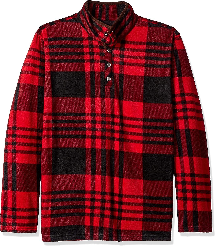 Smiths Workwear Mens Plaid Super-Soft Polar Fleece Snap Henley Pullover