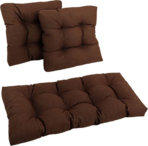 Blazing Needles Squared Solid Spun Polyester Tufted Settee Cushions Set
