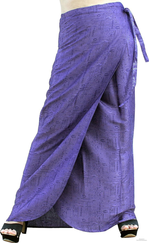 Amethyst purple Raan Pah Muang Brand Thick Geometric Stamped Thai Soft Silk Formal Wrap Skirt