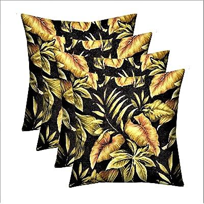 """RSH Décor Indoor Outdoor Multi Color Set of 4-17""""x 17"""" Square Pillow Set Weather Resistant - Choose Pillow Color (4-Black Tropical Floral Pillows): Home & Kitchen"""