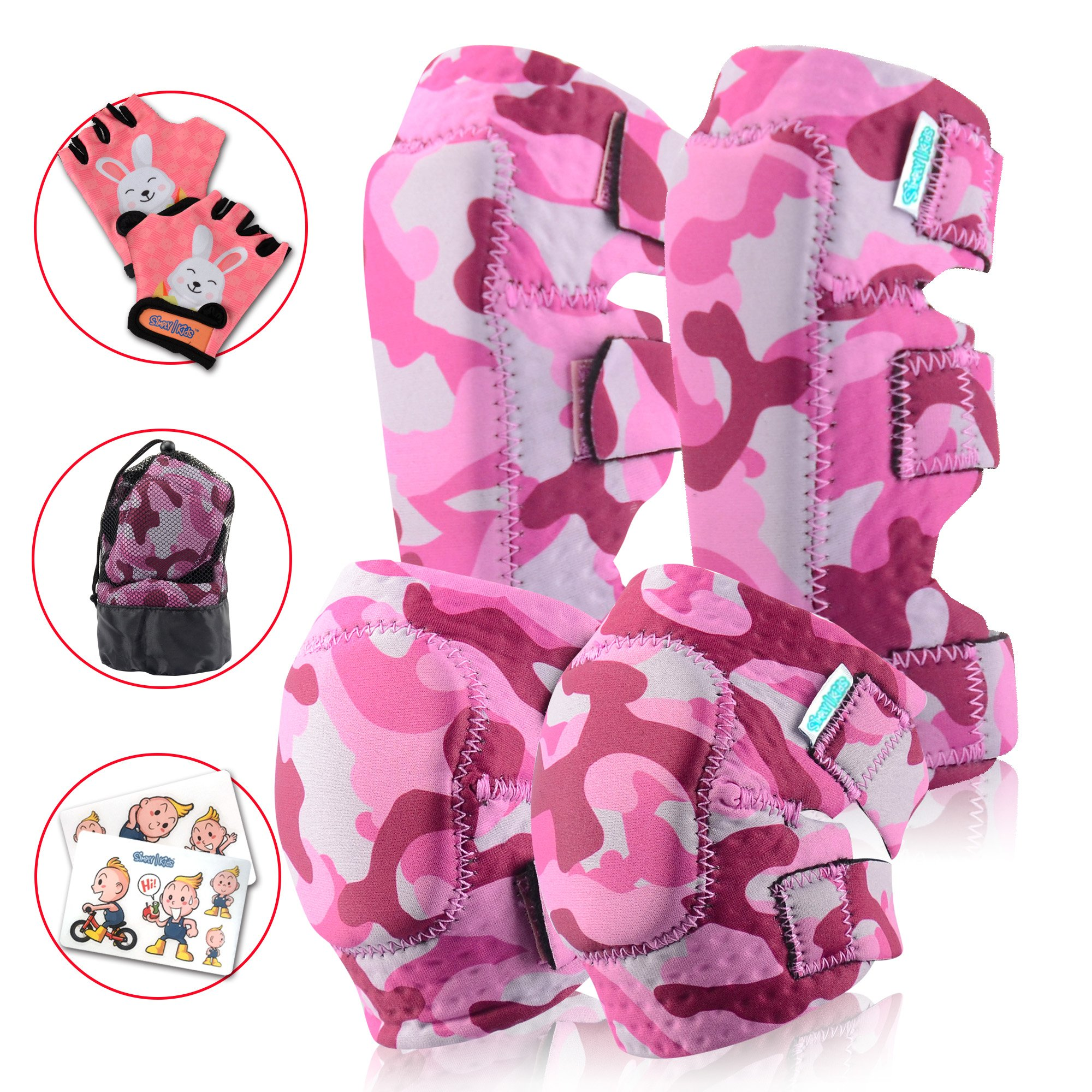Innovative Soft Kids Knee And Elbow Pads Plus Bike Gloves | Toddler Protective Gear Set | Comfortable Breathable Safe | Roller-Skate, Skateboard, Rollerblade For Children Boy And Girl (Baby Pink Camo)