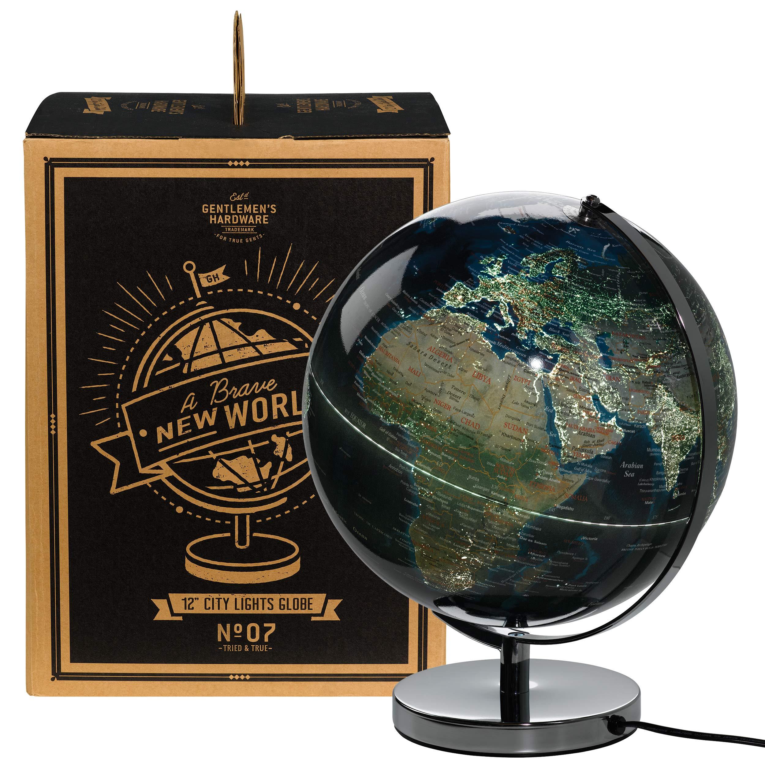 Gentlemen's Hardware Geographic City Lights World 12'' Desk Globe with Stainless Steel Base (AGEN234)