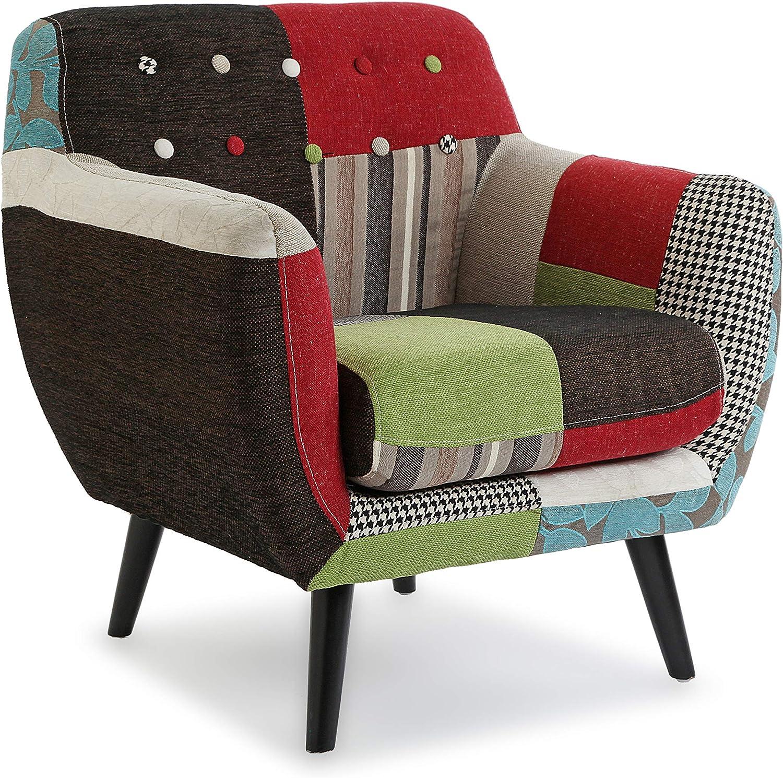 Versa 19500760 Butaca tapizada con reposabrazos Bl/Gr Patchwork, Algodón, Verde, Beige, Negro, 76 x 63 x 68 cm