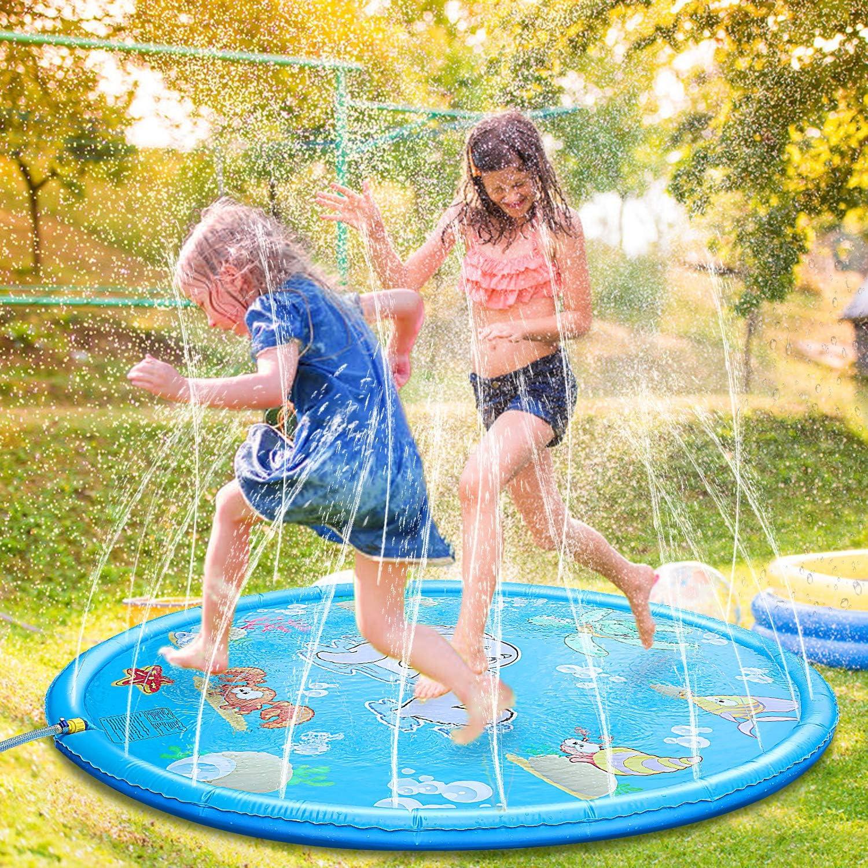 Fostoy Splash Pad Wasser Spielmatte Sprinkler Und Splash Play Matte Wasserspielzeug Spielmatte Kinder Baby Pool Pad Outdoor Sommer Garten Spielzeug Für Familie Aktivitäten Party Strand Garten Spielzeug