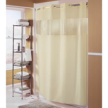 Hampton Inn Hilton Hotels Exclusive Hookless Washable Fabric Shower Curtain With See Through Panel