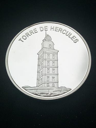 Moneda bañada en plata Torre de Hercules (A Coruña): Amazon ...