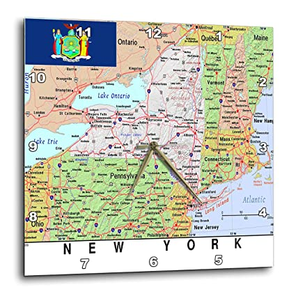 Amazon.com: 3dRose Topo Maps and Flags Of States - Image of New York ...