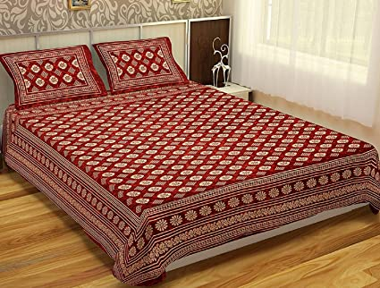 3e6ce076303 Buy ReTrend Cotton Rajasthani Batik Print King Size Bedsheet With Set of 2  Pillow Cover - Maroon (90 x108 Inch) Online at Low Prices in India -  Amazon.in