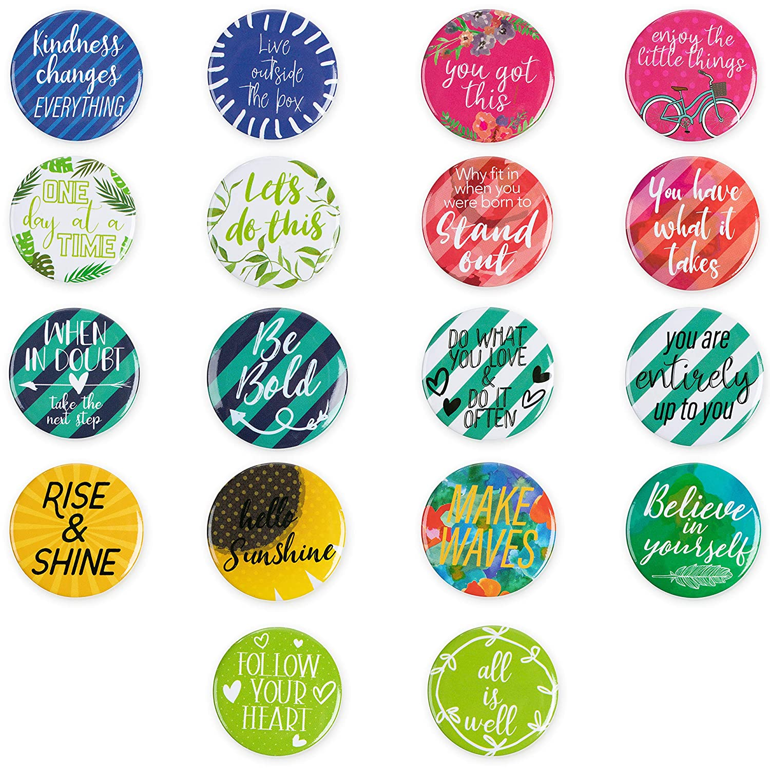 Locker Magnets - 18-Pack Motivational Magnets for Lockers or Fridge, Inspirational Magnets with Encouragement Quotes, For Office, Classroom, Students, Teachers, Teacher Gifts, 1.25 Inches in Diameter