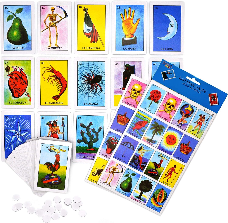 Amazon Com Loteria Mexican Bingo Lottery Game Set 10 Players Deck Of 54 Cards Juego De Loteria Mexicana Para 10 Jugadores Baraja De 54 Cartas Toys Games