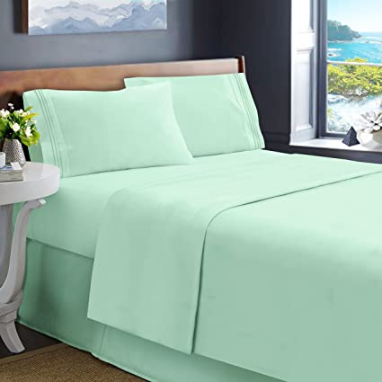 Lovely Hearth U0026 Harbor Queen Size Bed Sheets, Mint Green   Soft Luxury Best  Quality 4