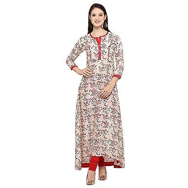 Royal Export Women s Beige Printed Rayon Kurta  Amazon.in  Clothing ... 783b06e3d