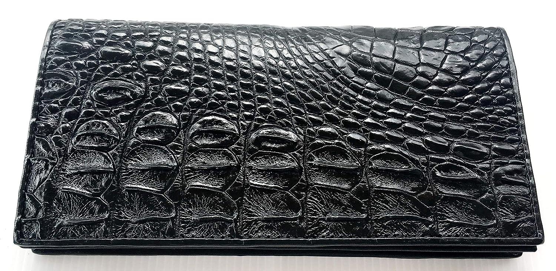 Genuine Real Crocodile Backbone Skin Leather Checkbook Long Black Wallet