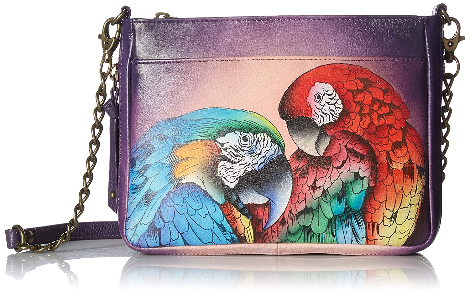 Image of Luggage Anuschka Women's Genuine Leather Compact Crossbody With Front Pocket - Hand Painted Original Artwork