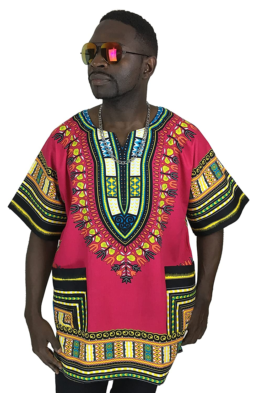 Vipada's Dashiki Shirt African Top Men's Dashiki Pink L